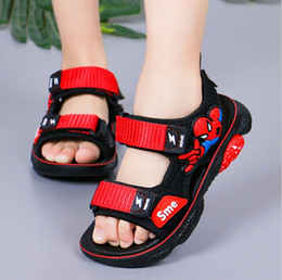 Discount sports fisherman - 2019 summer new spiderman children's sandals soft bottom big boy Korean version of the boy beach sports sandals cas