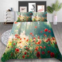 $enCountryForm.capitalKeyWord Australia - Flower Printed Bedding Set Queen Size Poppy Fresh Duvet Cover Queen 3D Elegant Home Deco Double Single Bed Cover with Pillowcase