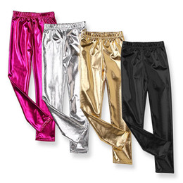 gold tight leggings Australia - Shiny Metallic Dance Fashion Gold Silver Leggings Little GirlsShiny Stretch Leggings Pants Wet Look Trousers Dancing Costume