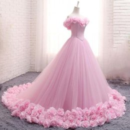 gown girls white rose Australia - Romantic Pink Rose Evening Dress 2019 Princess Ball Gown Quinceanera Debutante Gown Girls Sweet 16 Gown