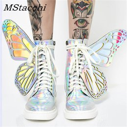 shining patent leather shoes Australia - MStacchi Women Shine Silver Short Boots 2019 Butterfly Wings Sneakers Ladies Lace Up Colorful Shoes Woman Bling T-Show High Shoe