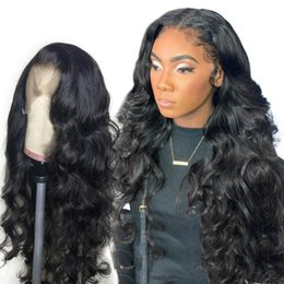 front layered hair Australia - Lace Front Wigs With Fake Scalp Virgin Brazilian Hair Natural Super Wave Lacefront 13x6 Frontal Fake Scalp Human Hair Wig Pre Plucked