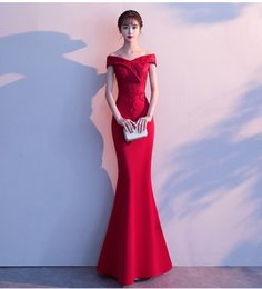 $enCountryForm.capitalKeyWord Australia - The new evening dress of 2019, wine red, shoulder lace back zipper and fish tail, shows you sexy and perfect figure perfectly