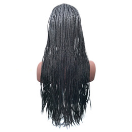 $enCountryForm.capitalKeyWord UK - 18-24 Inch High Density Braided Lace Front Wigs Box Synthetic Fiber Wigs Thick Full Hand Twist Synthetic Hair Micro Havana Twist Wigs