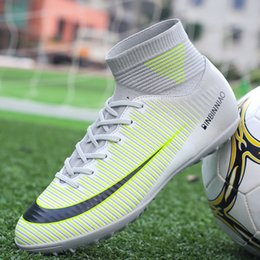 5f63bab0e Outdoor Men Boys Soccer Shoes Football Boots High Ankle Kids Cleats  Training Sport Sneakers Size 35-44 Dropshipping