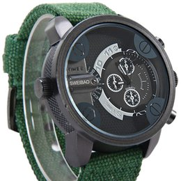 binger watch strap NZ - Man Wrist Watch Trend Personality Both Time Zone Motion Leisure Time Cowboy Strap Canvas Man