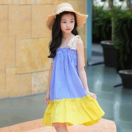 children skirt suspenders Australia - Girls suspender dress summer 2019 new Korean version of the mosaic princess dress in the big children striped skirt manufacturers wholesale