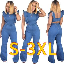 Women blue jean jumpsuit online shopping - 2019 Newest Spring Summer Casual Women Jeans Jumpsuits Ruffles Cap Sleeves Zipper Backless Fashion Long Flare Pants Denim Jumpsuits