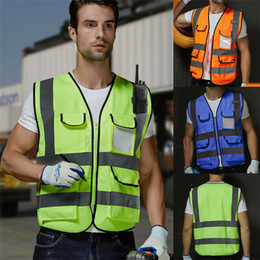 reflective traffic 2019 - New High Visibility Safety Vest Men Women Reflective Zipper Pockets Jacket Worker Traffic Night Security Waistcoat Men S