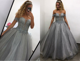 $enCountryForm.capitalKeyWord Australia - 2019 Gorgeous Grey Ball Gown Quinceanera Prom Dresses Bling Sequins Off the shoulder with Sleeves Applique Lace Long Sweet 15 Dress