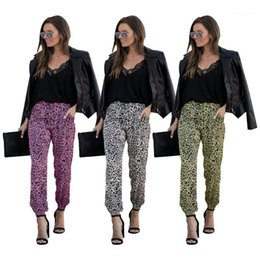 Wholesale ol pants for sale – dress Pencil Pants with Drawstring Womens Leopard Print Pants Womens OL Style Pants Female Casual Mid Waist