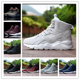 HigH ankle basketball sHoes men online shopping - Original Mens Huaraches Designer Sneakers High Top Mens Huarache Winter Boots Riding Hiking Ankle Snow Booties Shoes Size Eur40