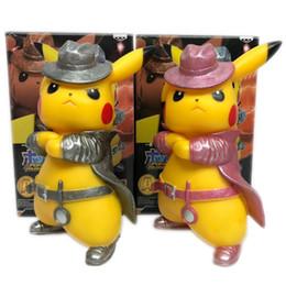 Pikachu Figure Wholesale Australia - Movie Detective Pikachu PVC 17cm Action Figure Go Angry Kawaii Cute Q Statue Doll Model Toys Figura Figurine Kid Gifts for Birthday gifts