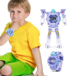 Toy Boy Movie NZ - 2in1 Boys Deformed Electronic Watch Children's Toy Light Robot Early Education Educational Toys Robot Kids Birthday Toys