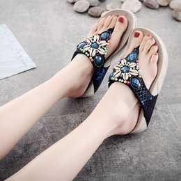 Wholesale Canvas High Shoes Australia - Fashion Wedges Crystal Loafer slaps women New arrival Causal Beach Slipper Shoes Sandals women sandals platform high heel