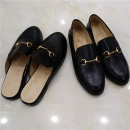 340454a2049 2019 Hot Sale Luxury Designer Black Loafers Slip On Ladies Mules Shoes Flat  Casual Shoes Genuine Leather Chain Slippers F01X613D619C855