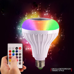 Computer Wireless Controller NZ - Smart RGB Wireless Bluetooth Speaker LED Bulb Music Playing Dimmable LED Bulb Light Lamp + 24 Keys Remote Controller