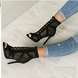 $enCountryForm.capitalKeyWord Australia - Hot Sale-Net Hollow Sexy Girls Bandage Lace Up High Heels Sandals Shoes Women Ankle Strap Party Peep Toe Thin Heels Dress Shoes