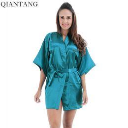 288751d72d Plus Size Women s Long Robe Light blue Chinese Lady Silk Satin Kimono Bath  Gown Nightgown Pijama Mujer S M L XL XXL TB06A