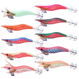 lure octopus NZ - 10Pcs Wood Shrimp Lures Artificial 3D Eyes Luminous Fishing Bait Squid Lures Lead Sinker Jigs Octopus With Squid Hook Pesca