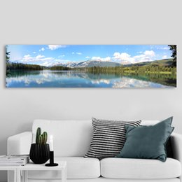 Cartoon Lake Australia - 1 Piece Wall Art Poster Canvas Art Print Landscape Painting Panoramic Wall Picture Reflection Lake For Living Room No Frame