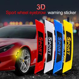 "Reflective Stickers Wheel Australia - 2Pcs set ""Sport"" Car Reflective Strip Sticker Warning Wheel Rim Eyebrow Safety Warning Light Reflector Protective Decal Auto Car Styling"