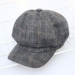 0179cb581d4 Wool Cotton Retro Elegant Autumn Winter Female Beret Plaid Design Woman Octagonal  Cap Hats Stylish for Girl Artist Women s Hat