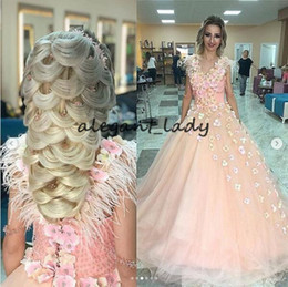Princess One Piece White Dress Australia - 3D Floral Handmade Flower Prom Formal dresses 2019 Luxury Feather Beadwork Sweep Train Princess Arabic Special Occasoin Evening Gowns