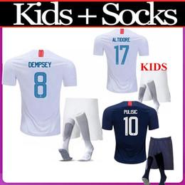 2962cb53b 2018 2019 USA PULISIC Soccer Jersey 18 19 DEMPSEY BRADLEY ALTIDORE WOOD  America kids kit with socks Football jerseys United States Shirt