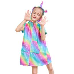 Discount kids beach towel robes - Fioday Towel Bath Robes for Girls White and Rainbow Print Zipper Hoodies Dress for Beachwear Kids Beach Cover-ups Drop S