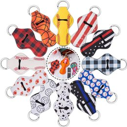 Wholesale Neoprene Keychain Sports Printed Chapstick Holder Leopard Keychian Wrap Lip Cover Party Favor Mother s DayGift Designs