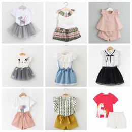 5315e5789947f7 Cute puff sleeve Cotton tops online shopping - 42 designs baby girls summer  casual suits good