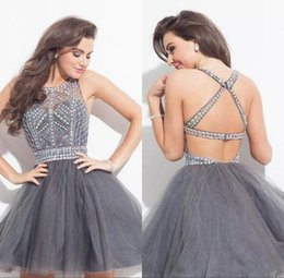 light grey short crystal prom dresses Australia - Sexy Grey Rhinestone Homecoming Dresses For Juniors Backless Crystal Beads Tulle Mini Short Cocktail Dresses Prom Party Gowns