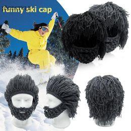 0d93459f26f Funny Hat Hip Hop Beard Wig Pattern Cap Knitted Men Winter Crochet Mustache Hat  Beanie Face Tassel Bicycle Mask Ski Warm Cap