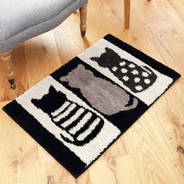 $enCountryForm.capitalKeyWord NZ - Creative Flocking Foot Pad Cat Footprint Hello Pattern Carpet Mats Home Suede Bedroom Kitchen Long Strip Non-Slip Absorbent Mat