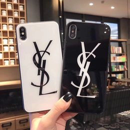 Black tempered glass for iphone online shopping - For iPhone Xs max XR S plus Black and White designer case Luxury H Hardness Tempered Glass Glossy Phone Brand Back Cover A01