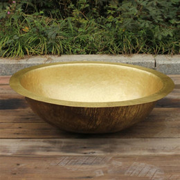 Wholesale Oval Copper VanitySink Hand hammered bathroom sink brass Basin with Overflow Polished Copper