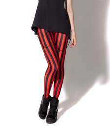 red white leggings NZ - 5 Patterns Vertical Striped Red Workout Leggings S To 4xL Plus Size Pink White Black Fitness Womens Pants Y200113