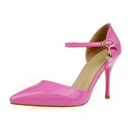 $enCountryForm.capitalKeyWord Australia - Women Fashion Sandals Shoes Summer Ankle Strap Cow Genuine Leather High Heels Ladies Pink Black Pump Sandal Big Size SMYBK-A3