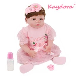 hot girls model NZ - wholesale 22 inch 55cm Reborn Baby Doll Full Vinyl lol Toy Lovely pink Princess Girls Beautiful Bebe pretty dress hot sale Fashion