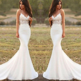 Wholesale dress backless resale online – 2020 Country Mermaid Wedding Dresses Spaghetti Backless Sweep Train Appliques Illusion Bodice Long Beach Garden Country Bridal Gowns
