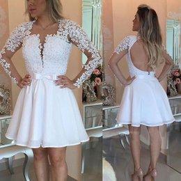 $enCountryForm.capitalKeyWord Australia - wholesale Short White Prom Dresses 2019 Long Sleeves Pearls Applique Mini Party Dresses Plus Size Customize