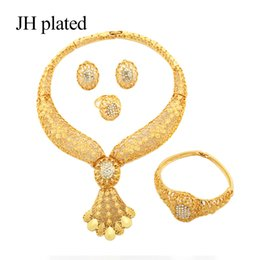 $enCountryForm.capitalKeyWord Australia - JHplated African Ethiopia Fashion gold color jewelry women Wedding gift set Necklace Earring Ring bracelet sets India Women Gifts