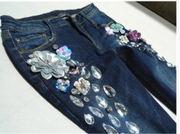 bleach crystals NZ - spring autumn Ripped ankle length Handmade Diamonds Crystal Holes Pencil Jeans Women skinny jeans