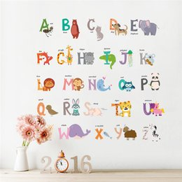 $enCountryForm.capitalKeyWord Australia - cartoon Jungle wild 26 letters alphabet animals wall stickers for kids rooms home decor children wall decal poster
