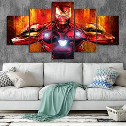 marvel room decor NZ - Iron Man Art Canvas Posters Home Decor Wall Art Framework 5 Pieces Paintings For Living Room HD Prints Marvel Pictures
