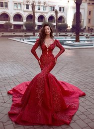 Size 16 Silver dreSS online shopping - 2019 New Designer Red Said Mhamad Bling Bling Elegant Plus Size Prom Dresses Sequined Lace Applique Evening Dresses Wear Party Gowns