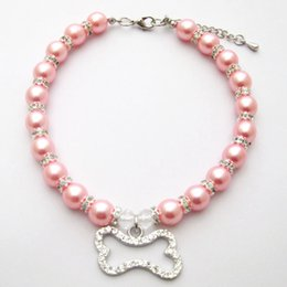 $enCountryForm.capitalKeyWord Australia - Dog cat Pearls Necklace Collar Bling Rhinestones Bone Charm Pendant Handmade Pet Puppy Jewelry 3 sizes 3 colours