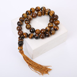 muslim prayer beads islamic tasbih Canada - 10Pcs Natural Tiger Eye Stone Muslim Tasbih 33 Beads Islam Prayer Zikr Beads 10mm 12mm Tesbih Rosary Islamic Misbaha with Decorated Tassels