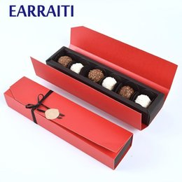 $enCountryForm.capitalKeyWord Australia - 10 PCS Chocolate Box Favors Red Black Gift Boxes For Jewellery Kraft Candy Paper Box Wedding Gift Packaging Supplier Sets Ribbon